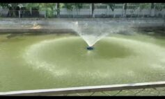 Fountain aerator set in Sylhet, Bangladesh for fish culture and recreational purpose